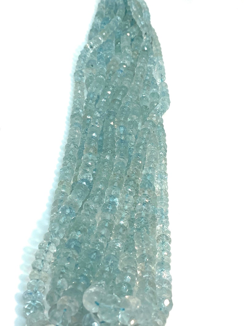 16/'/' Aquamarine faceted beads 4-8mm intercalated Rondlle cut good Quality Beads high quality tyre cut beads Gemstone beads  full strand