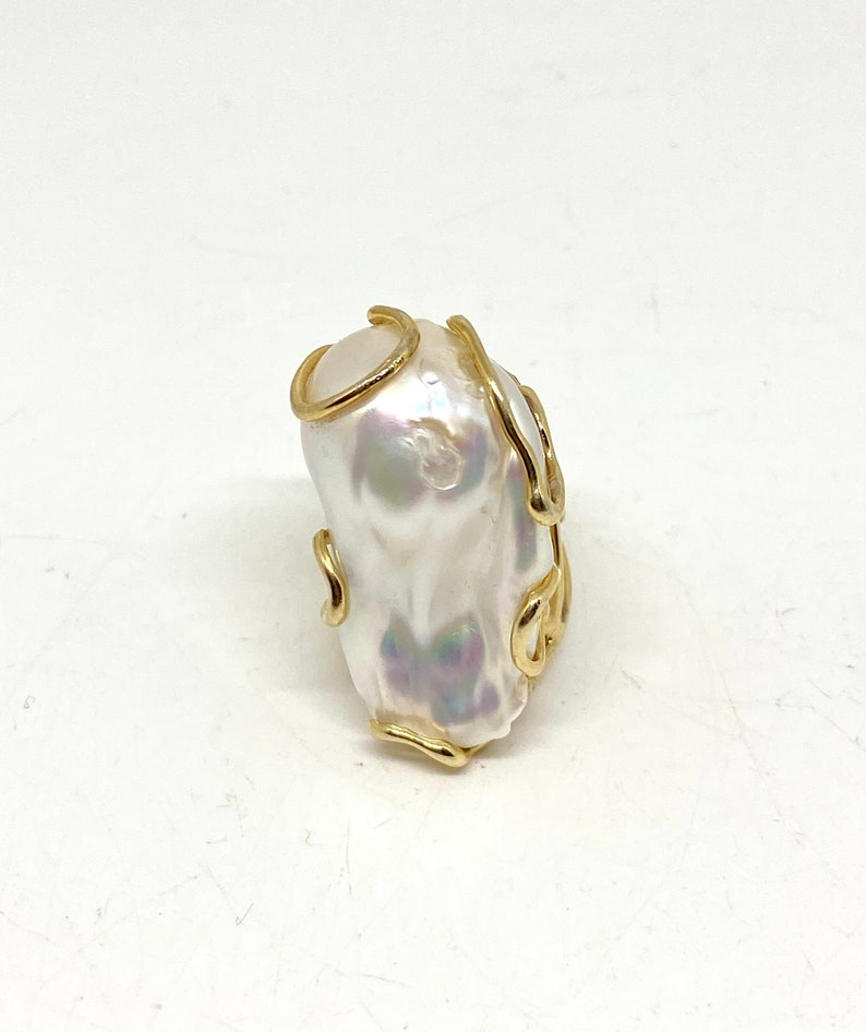 Gold Plated High Quality Baroque pearl Ring 925 Sterling Silver Natural pearl ring Adjustable FlameBall pearl Ring Handmade Huge Big Baroque
