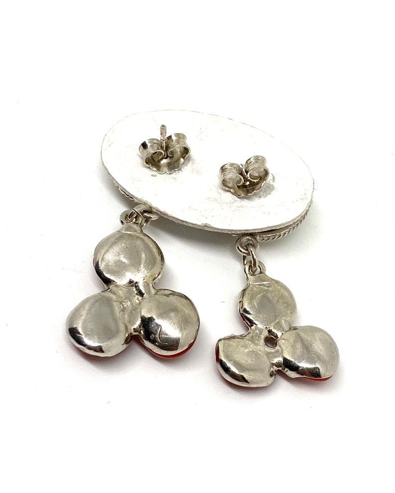 Sterling Silver 925 Handmade Jewellery Red coral Earrings Wire Earring Gift Women Earring Vintage Jewellery Smooth Coral Earrings
