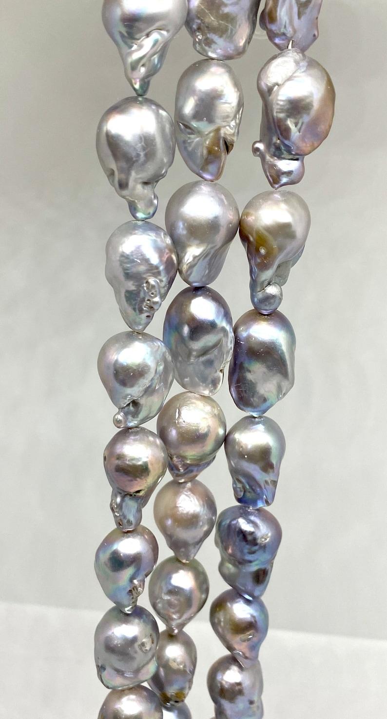full strand high lustre Pcs 19 freshwater pearls 112gram Baroque pearl 22 x 26 mm grey baroque  cultured pearl  Fireball shape