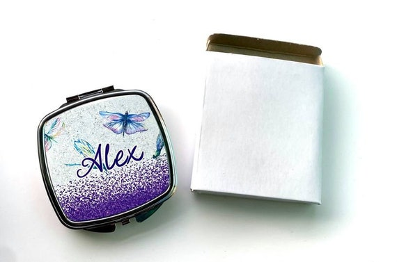 Compact Mirror, pocket mirror, personalized gift for her, sister gift bridesmaid gift, stocking stuffer, Christmas gift,