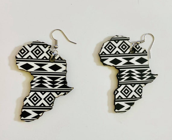 Wood round or africa shaped laser cut earrings
