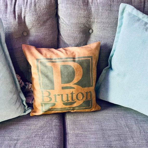 Personalized pillow with pillow cover, birth announcement, burlap pillow cover, Personalized with favorite clipart or Quote!
