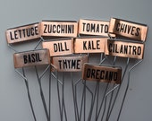 Custom Set of 10 Copper Markers Stakes Labels for Garden Plant Vegetable Flower Herb