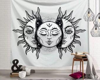 "Mandala Black Moon and Sun Yoga Blanket Indian Tapestry Decor 38x29/"" TW"