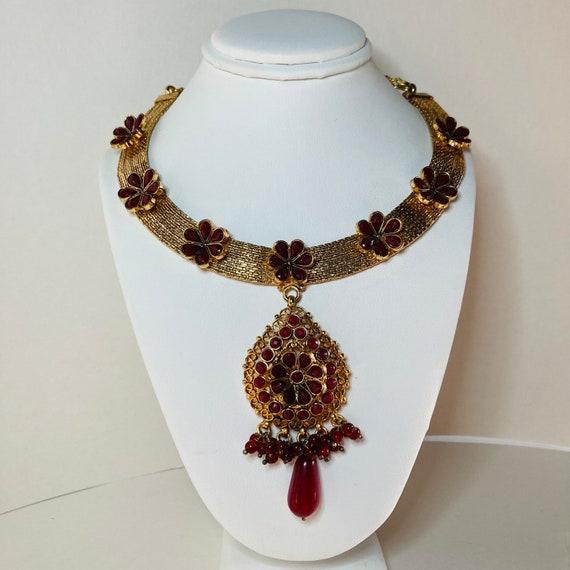 Ruby Red Rhinestone Choker - Gold Flower Necklace