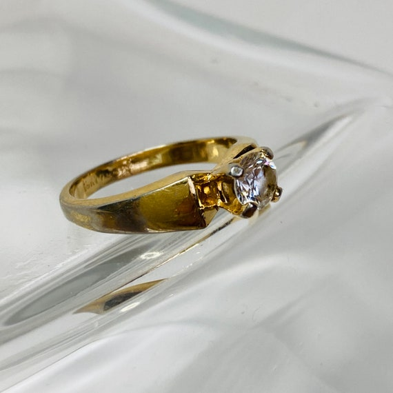 18K Gold HGE Ring - Size 6 Solitaire Ring - gold … - image 7
