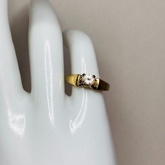 18K Gold HGE Ring - Size 6 Solitaire Ring - gold … - image 3