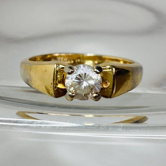 18K Gold HGE Ring - Size 6 Solitaire Ring - gold … - image 1