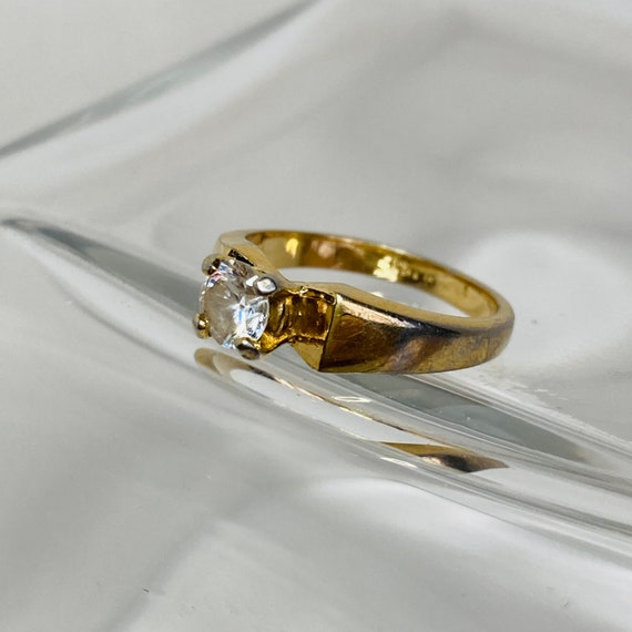 18K Gold HGE Ring - Size 6 Solitaire Ring - gold … - image 6