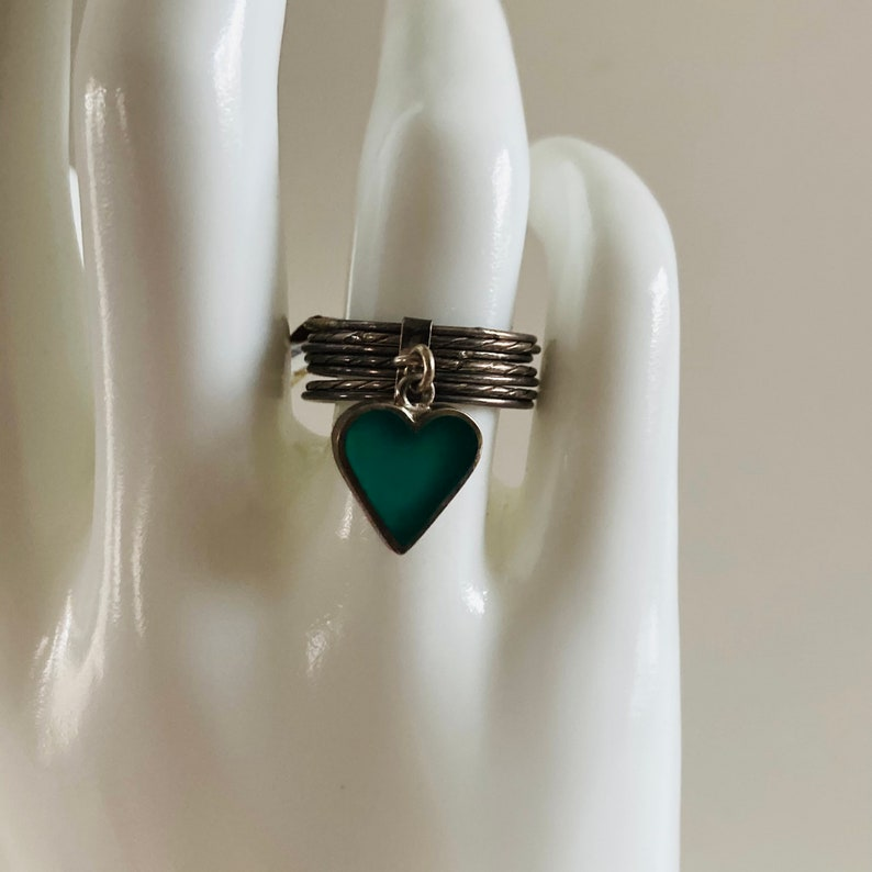Silver Stacking Rings Size 8 Peruvian Silver Rings Made in Peru Sterling Silver Stackable Rings Green Heart Ring