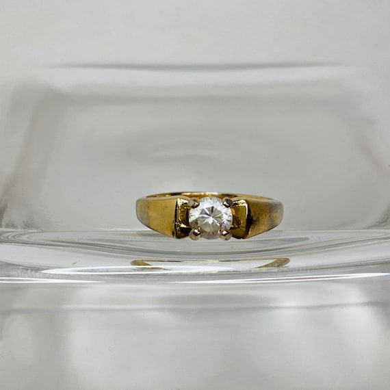 18K Gold HGE Ring - Size 6 Solitaire Ring - gold … - image 5