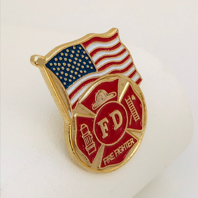 American Flag gold tone Fire Department red white and blue enamel Firefighter Lapel Pin Tie Tack