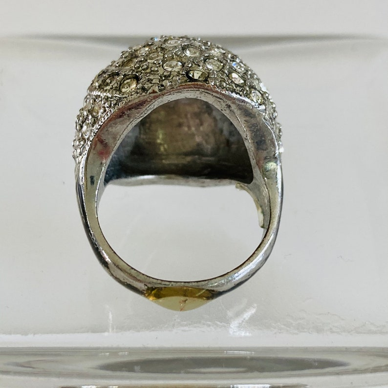 silver tone ring cocktail ring Size 7 Rhinestone Dome Ring vintage ring silver rhinestone ring large statement ring bling ring