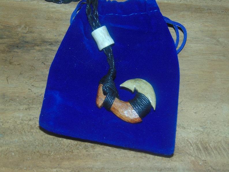 Maori Fishhook Matau Makau Hawaiian Koa Wood and Antler Handcrafted Maui Fish Hook Pendant