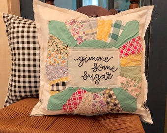 You Choose Colors Custom Made Dresden Plate 18 Quilted Pillow Cover