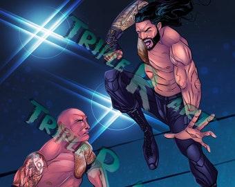 The Rock vs Roman Reigns wrestling art print
