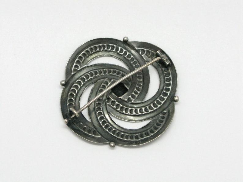 Silver 813 Scandinavian Finnish Modernist Ethnic Brooch Pin Finland 1940s Hopea