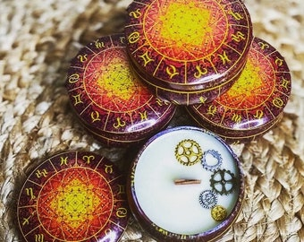 Zodiac Tin Celestial Candle   Energy & Focus   Soy Wax and Beeswax   Wood Wick   Clean Burning   Intention Spell Manifest  