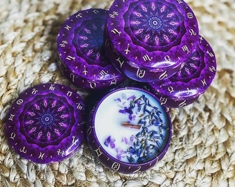 Zodiac Tin Celestial Candle   Lavender Essential Oil & Amethyst   Soy Wax and Beeswax   Wood Wick   Clean Burning   Intention Spell Manifest