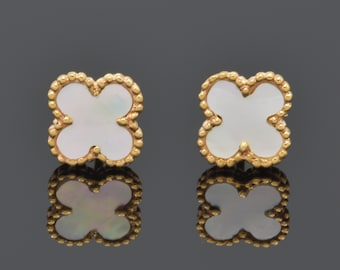 Pre order!14K Solid gold Black onyx clover/ Four leaf clover/VC/ luxury and timeless
