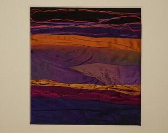 Irish sunset textile, purple and orange, mountain sunset art, silk fibre art, silk wall hanging,textile wall decor, one of a kind gift