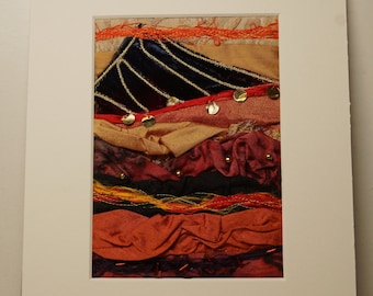 Irish wall hanging, orange red and gold, Irish landscape art, bog fire wall art, colourful wall decor, one of a kind gift, handmade gift