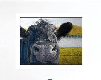 Black cow print, A4 fine art print, home decor art idea, unframed print, original art print, ideal gift idea, irish print wall art