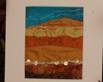 Gold silk textile, silk wall hanging, Sahara desert scene, fibre art wall decor, home decor art, one of a kind gift, sand dunes textile,