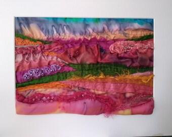 Summer garden gift, silk textile, textile wall art, fabric art, colourful wall art, pretty gift, wall art decor, wall textile, perfect gift