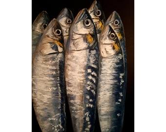 Fine art print, sardines print, tall fish print, soft pastel art, original artwork, wall hanging, home decor print, gift idea, birthday gift