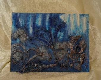 Irish woodland scene, blue wall art, textured wallart,mixed media art,organic mixed media, moonlit woods,one of a kind gift,original artwork