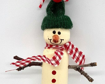 Wooden Clothespin Ornaments with Ribbon Scarfs and hangers