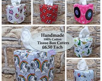 Tissue Box Covers, Cube Tissue Box, 100% Cotton, fun fabric designs