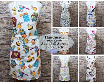 Adult Aprons, Full Apron, Decorative Bright Fabrics, One Size, Large Pockets, Long Ties, 100% Cotton