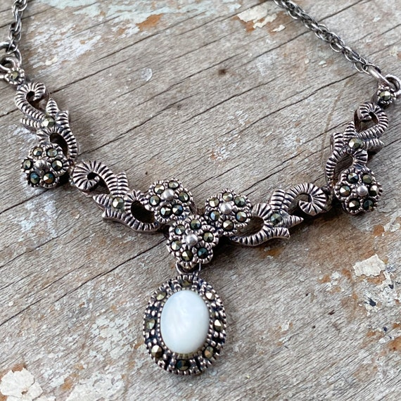 Vintage Marcasite Necklace with Mother of Pearl Pe
