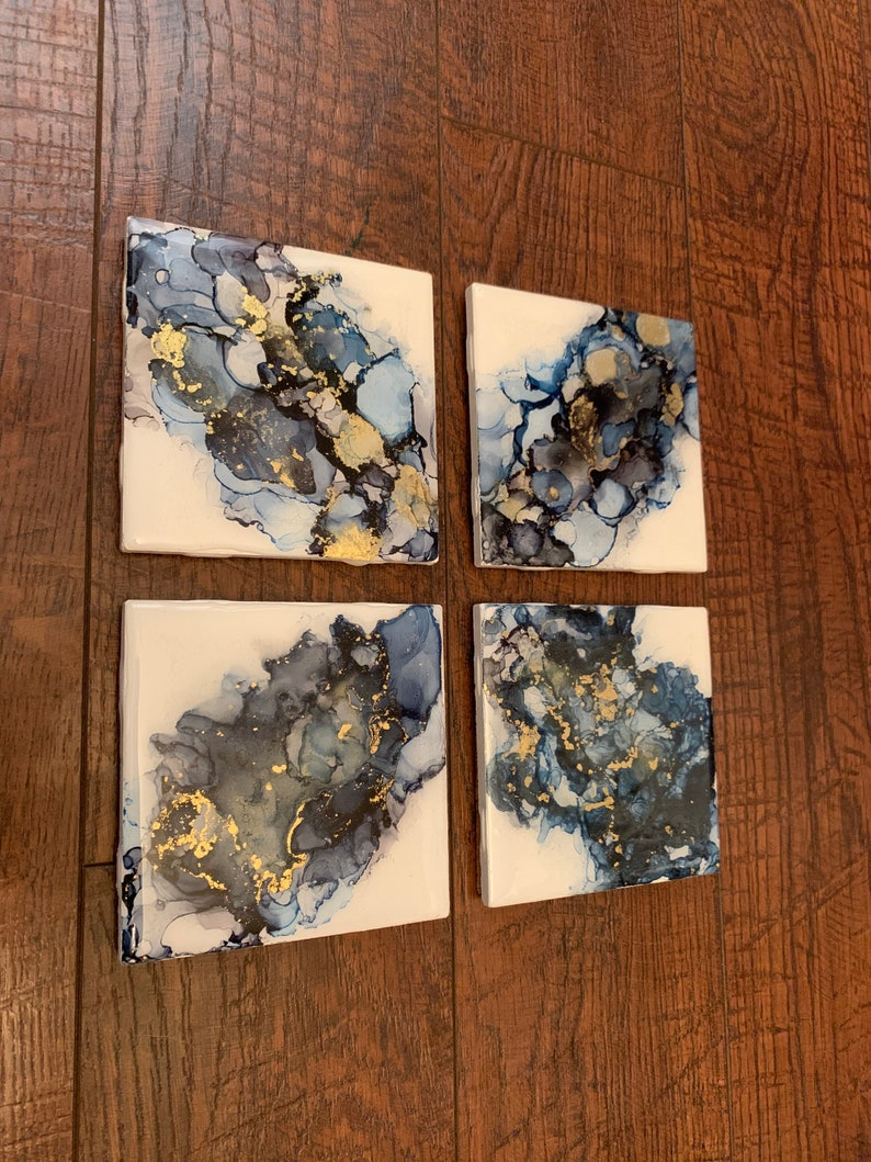 Blue Alcohol Ink Coasters