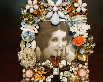 Aqua Jeweled Frame Fits 4x12 photo Panoramic Picture Frame Pewter Picture Frame Embellished Frame Wedding Table Decor,Gatsby Wedding,