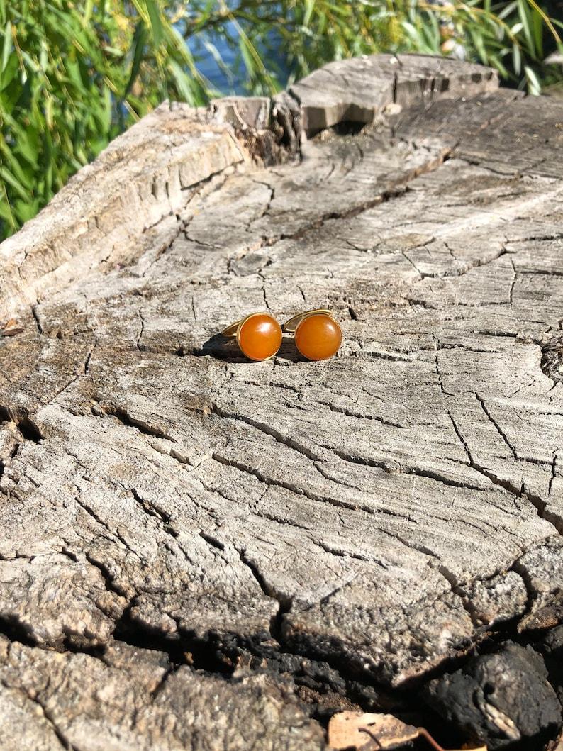 Groom Cufflinks Baltic Amber Cufflinks Small Round Amber Cufflinks Round Stone Cufflinks Anniversary Gift Orange Gemstone Cufflinks