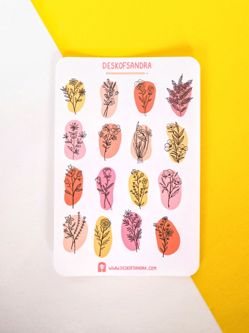 Aesthetic botanical planner stickers Minimalist floral stickers Line art flower stickers Aesthetic flower and trees sticker sheet bundle