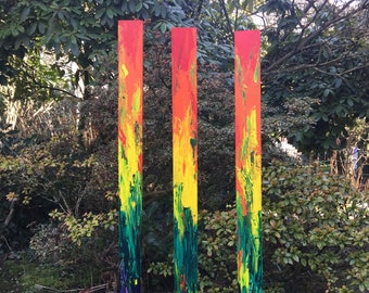 Gartenstele 3-series group - artistically designed (rainbow)