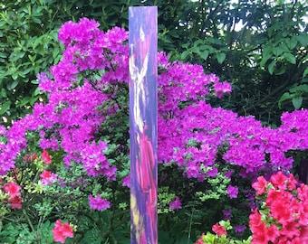 Garden stele - artistically designed (Bordeaux-Violet-Gold)