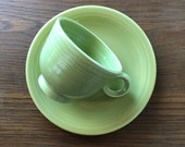 Vintage Lime Green Fiesta Cup And Saucer