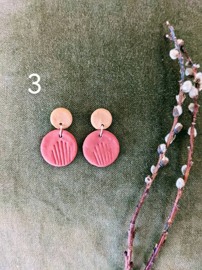 Short Drop Polymer Clay Earrings