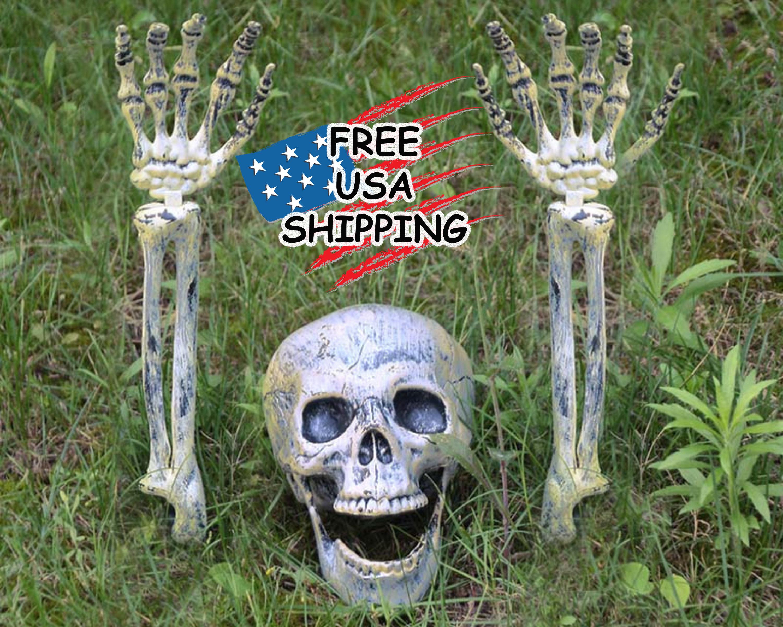 Halloween Lawn Skeleton Decor, Garden art, Halloween Decorations Outdoor, Vintage Halloween Decorations, Skeleton Statue, Horror Statue