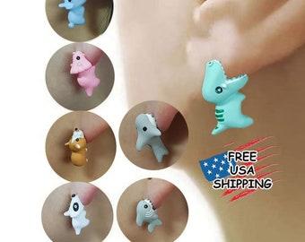 Cute Cartoon  Mini Dinosaur Bites Ears Stud Earrings Jewelry Gift for Her Mini Corgi Bites Ears Animal Earrings Funny Earrings Party Gift