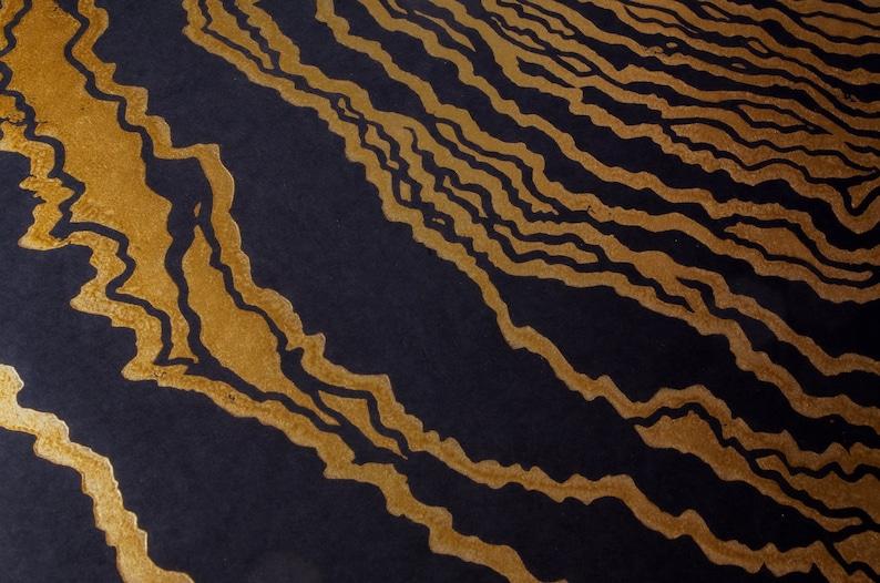 Metallic Copper ink Linocut art Original art limited edition hand print Whirpool art printmaking MAELSTROM