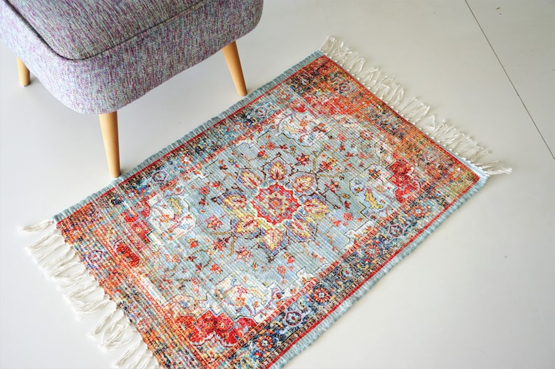 Hand-woven rugs Rag Rug washable printed Modern rugs Home image 0