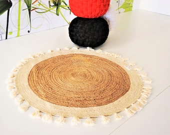Braided Carpet Jute Cotton Area Rug Braiding Jute Area Carpet Home Decor handmade rug 120cm round braided handmade rug