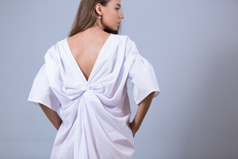 Asymmetric cotton kaftan White dress with extravagant backfold and flare sleeves Plus size dress Child/'s drawing dress Not see through